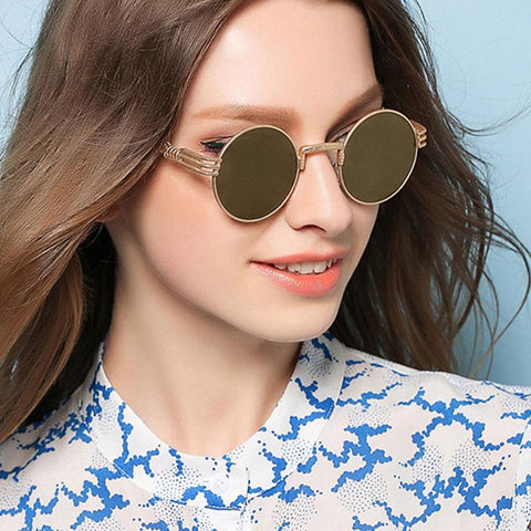 SHAUNA Vintage 14 Colors Hollow Out Legs Women Steampunk Sunglasses Retro Men Round Sunglasses Metal Frame Mirror Coating