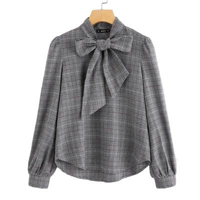 Shein Elegant Womens Tops And Blouses Work Women Blouses Grey Bow Tie Neck Long Sleeve Regular Fit Plaid Blouse