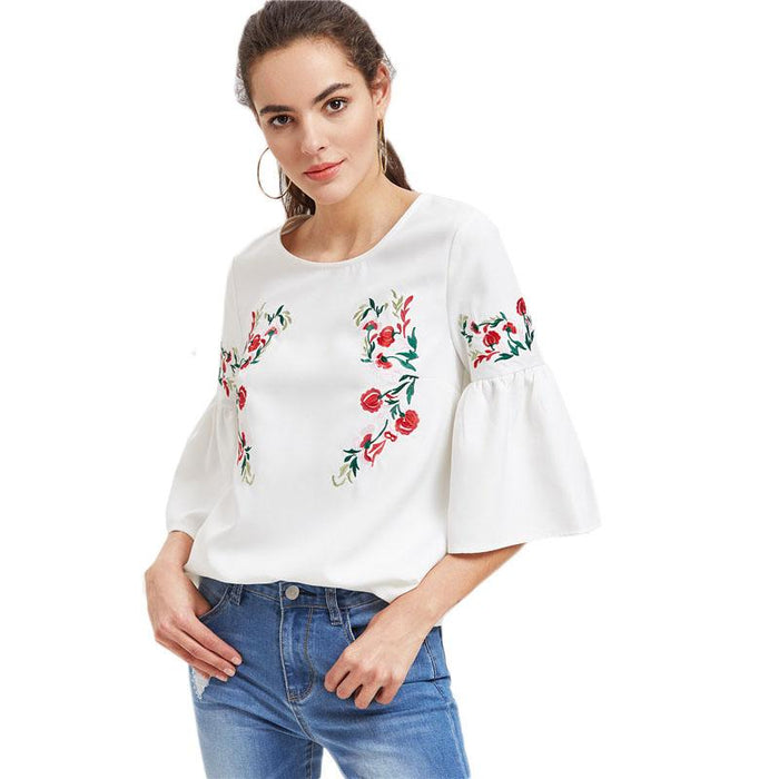 0c6f8fdef3 SHEIN Women Blouses Summer 2017 Three Quarter Length Sleeve White Ladies  Tops Flower Embroidered Fluted Sleeve