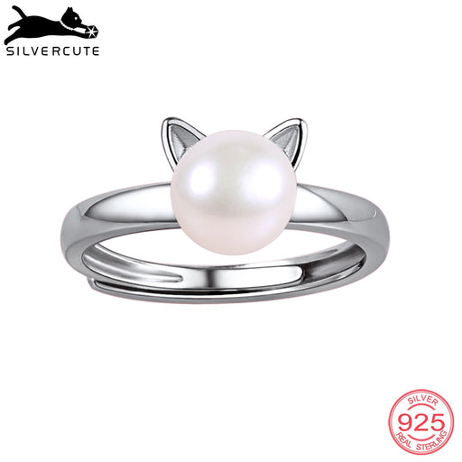 SILVERCUTE Freshwater Pearl Rings For Women Girls Genuine 925 Sterling Silver Gold Color Cat Ear Open Ring Fine Jewelry SCR6008B