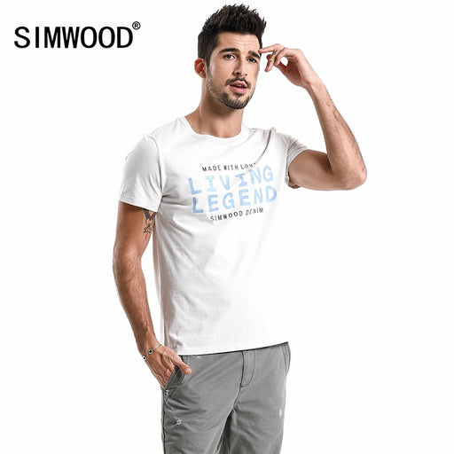 SIMWOOD 2018 SUMMER NEW T-Shirt Men Letter Print fashion casual 100% Cotton T Shirt Slim Fit High Quality Plus Size 180013