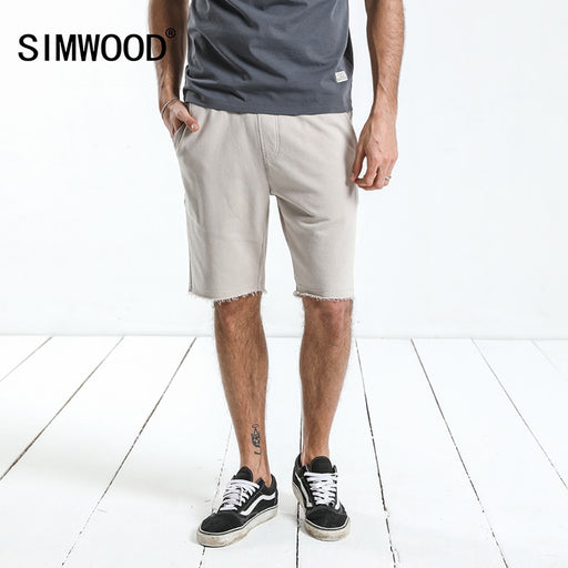 SIMWOOD 2018 Summer Knee Length Shorts Men Raw Hem Drawstring Sweatpants Jogger Short High Quality Brand Clothing 180024