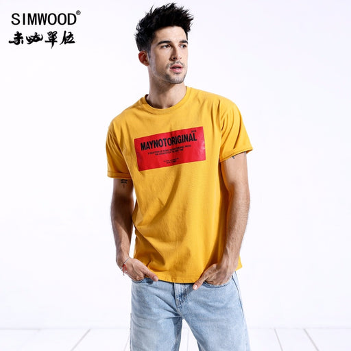 SIMWOOD 2018 Summer T-Shirts Men Fashion Letter Print O-neck Short Sleeve Tops Plus Size Loose Brand Clothing Tees 180411