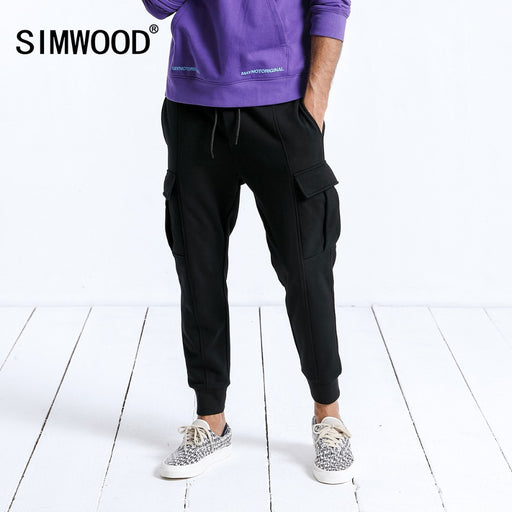 SIMWOOD Brand Sweatpants 2018 Autumn Winter Jogger Pants Men Drawstring Plus Size Comfortable Elastic Ankle-Length Pants 190003