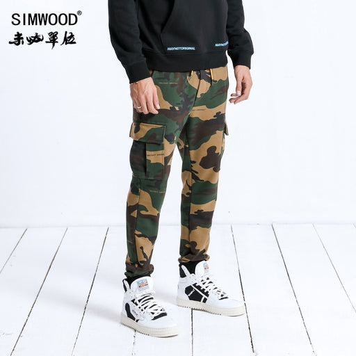 SIMWOOD Brand Sweatpants Men Camouflage Jogger Pants Trousers Men Drawstring Casual Warm Sweatpants Hip Hop Streetwear 180584
