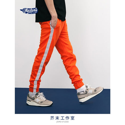 SODA WATER 2018 Fashion Brand Clothing Mens hipster techno track pants with side stripe HipHop Jogger SweatPants Orange 8407S