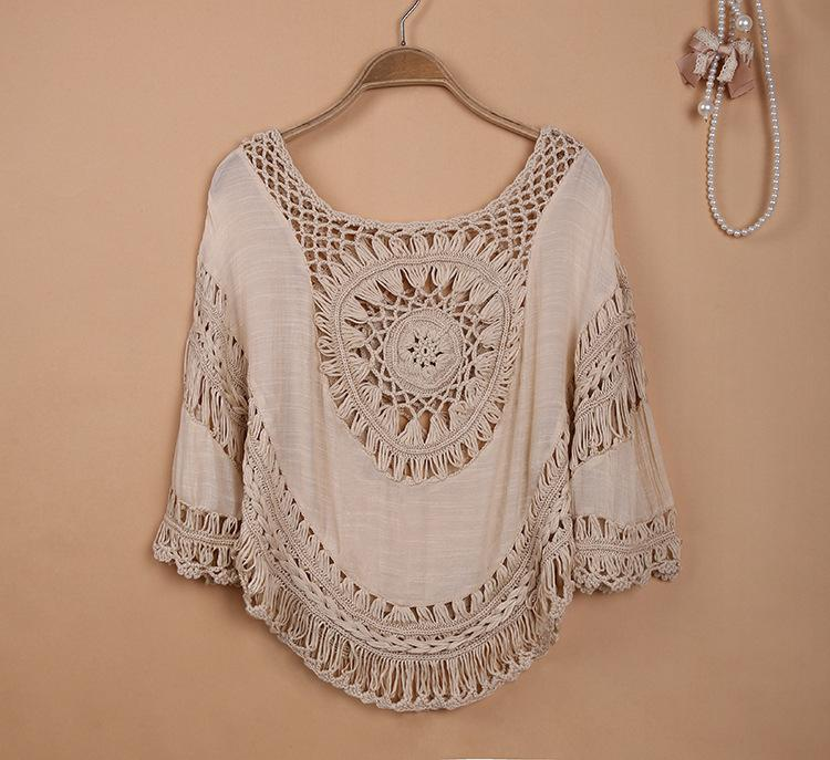 Sorchidf 2017 Women Summer Cotton Blouses Square Collar Crochet