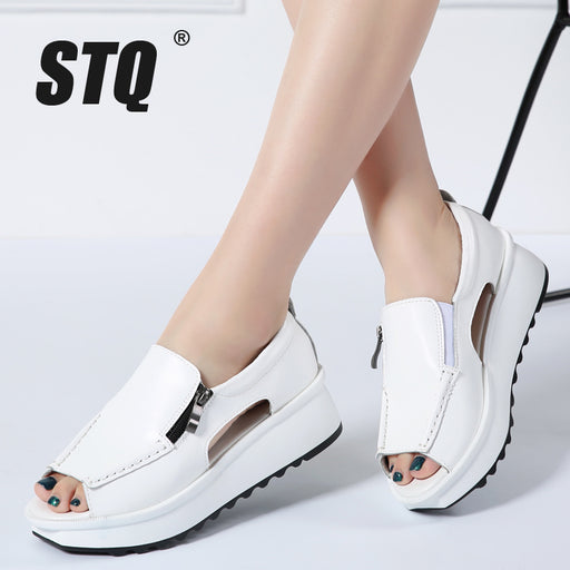 STQ 2018 Summer women sandals wedges sandals ladies open toe round toe zipper black silver white platform sandals shoes 8332