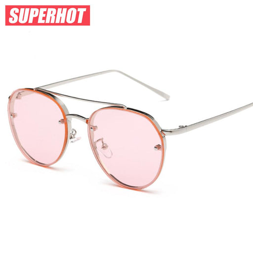 SUPERHOT Newest steam punk sunglasses women Metal frame yellow ocean sunglasses ladies summer design flalt pink lenses
