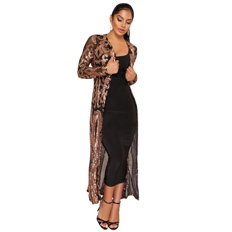 Sequin Long Cardigan Coat Fashion Long Sleeve Open Front Trench Coat Party Clubwear Black Sheer Mesh Sparkly Cardigans for Women