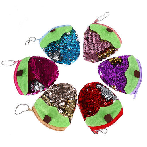 Sequines Women Coin Purse Pocket Wallet Mini Clutch Cute Strawberry Card Holder Key Case Money Bag Pouch For Kids Gift Wallet