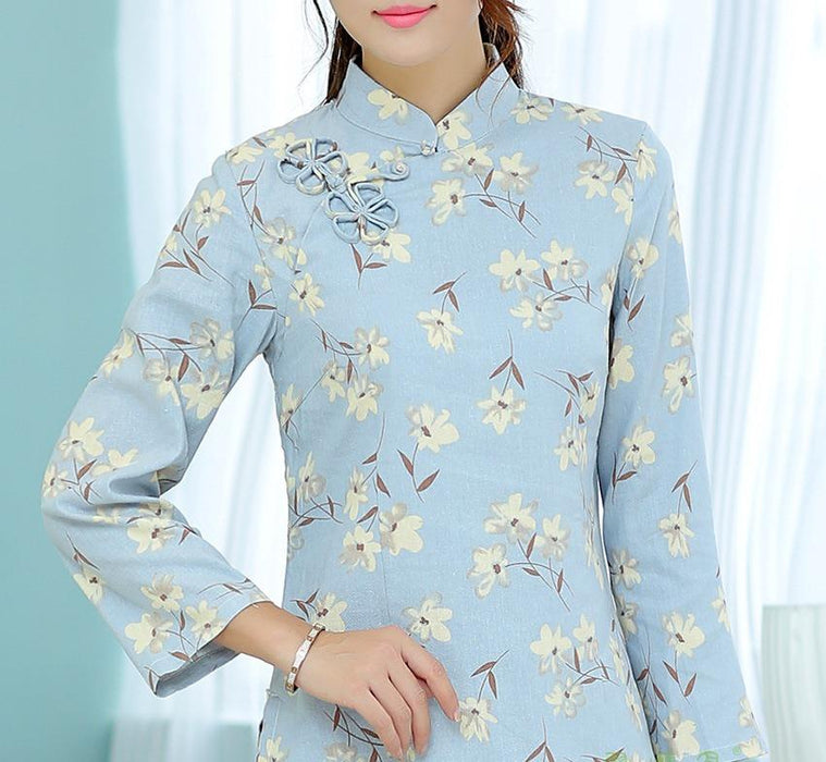 8dc6dcdcf Shanghai Story national chinese style top Long Sleeve Cheongsam top  traditional Chinese Top Women's Linen blouse