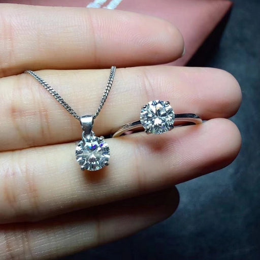 Shiny! Moissanit Diamond ring pendant s925 sterling silver classic Exquisite fine Jewelry set for women weddings white gemstone