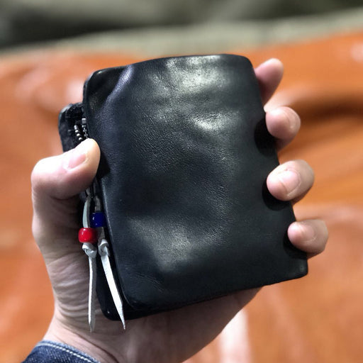 Short Genuine Leather Men's Purse Coin Pocket Button Luxury Cowhide Cow Men Wallet Male Money Bag Ruched Card Holder Handmade