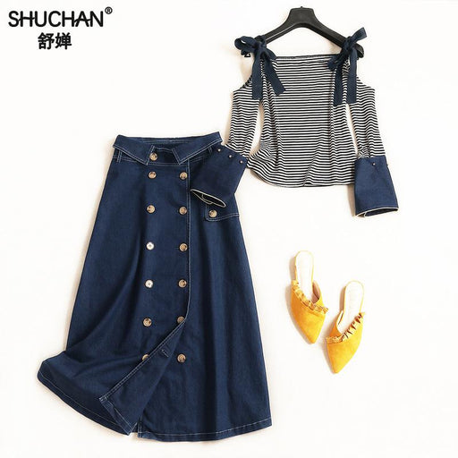 Shuchan 2018 Autumn Women Fashion 2 Piece Set Women Short Top Open Shoulder+denim Skirts Women's Suit Costumes For Women 5556