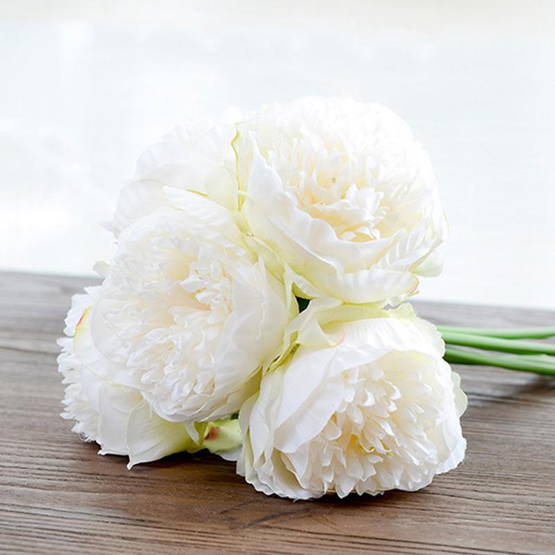 Silk flower wedding bouquet peony dahlias Artificial flowers fall ...