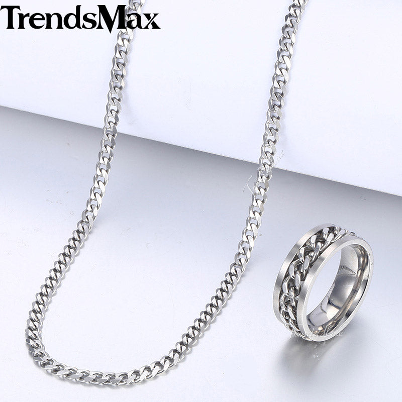 Silver Men S Ring Necklace Jewelry Set Stainless Steel Cuban Link Chai