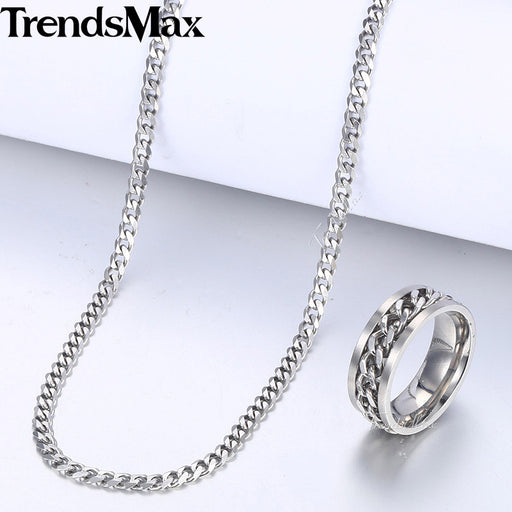Silver Men's Ring Necklace Jewelry Set Stainless Steel Cuban Link Chain Necklace Wedding Ring Male Jewelry Hip Hop KB214_8KR143