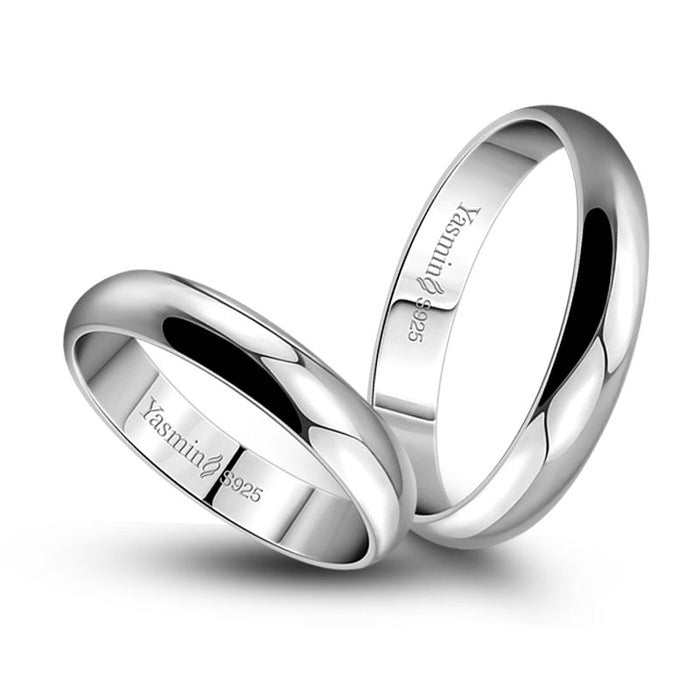 Simple Marriage Engagement Ring Solid 925 Silver Couple Ring Woman