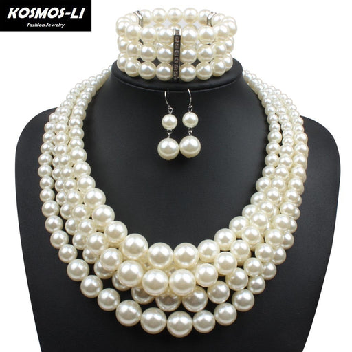 Simulated Pearl Jewelry Sets For Women Lady Plastic Beads Collares Necklace With Earrings Bracelet African Wedding Jewelry Set