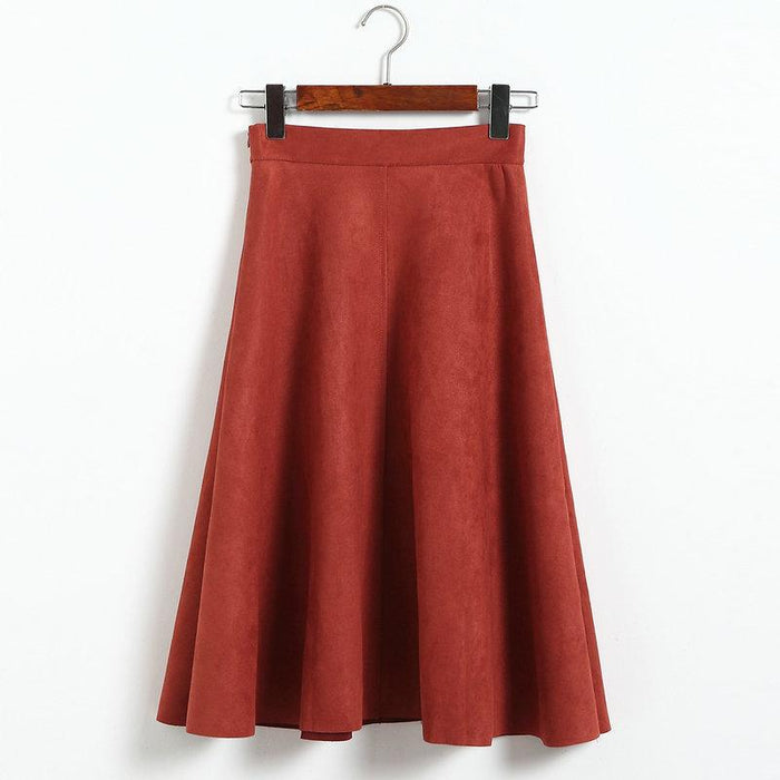 a25e42e6a Skirts Leather Pleated Skirt Winter 2017 Womens Suede Faux High Waist  Skater Brown Red Black Sexy