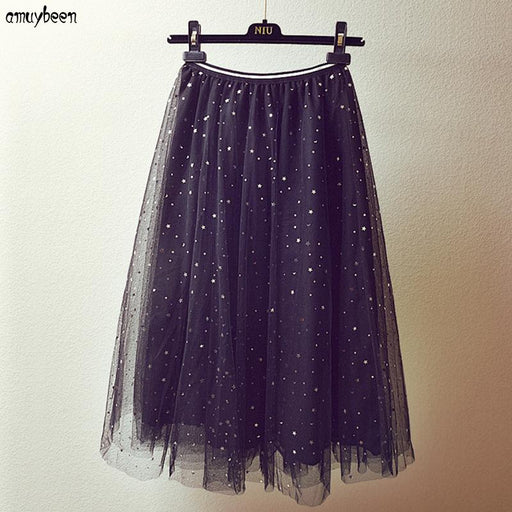 Skirts Mesh Sequin Skirt Women 2018 Stars Winter Tutu Party Tulle Festa Mori Black High Waist Harajuku Pleated Midi Tulle Skirt