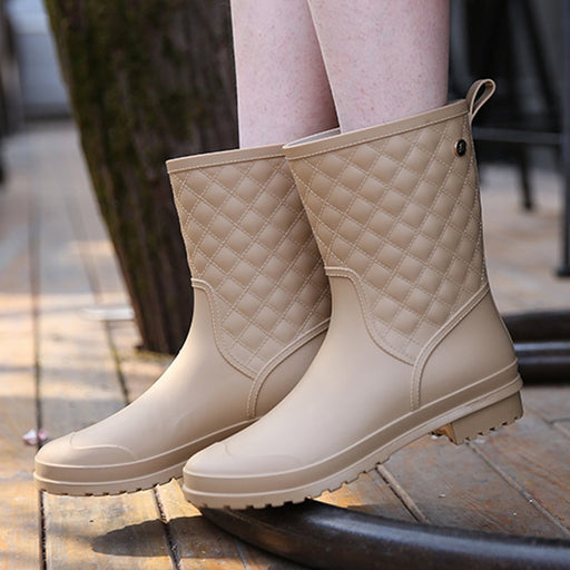 Snow boots shoes woman mid-calf spring rain shoes knot ladies shoes wedge leather boots waterproof women boots