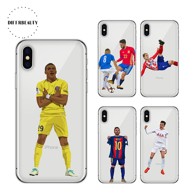 size 40 18cfa 174a9 Soccer Football Case For X DIFFRBEAUTY Ronaldo Soft TPU Hazard Phone Cover  for 5s se 6s 7 8 plus Case Capa Cover 1