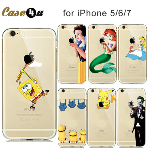 Soft Clear Rubber TPU Case SpongeBob Pocket Monsters Pikachue Case for capinhas iphone 8 7 Plus 6s 5s SE Eat Logo Silicone Case