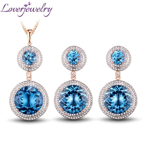 Solid 14Kt Rose Gold Fantastic Natural Diamond Jewelry Set Topaz Earrings & Pendant Gem Hot Sale