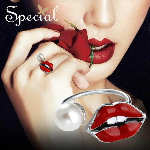 Special Fashion Sexy Slip Red Rings End Open Adjustable Ring Engagement Party Pearl Jewelry Gifts for Women S1733R