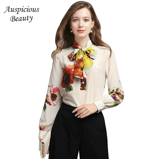 Spring 2018 New Women Printed Silk Shirts Bow Long Sleeve Casual Shirts Tops Female High Quality Elegant Blusas Blouse CXM450