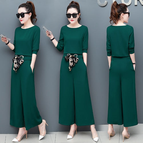 Spring And Autumn 2 Piece Set Women Wide Leg Trousers Suit Set Leisure Palazzo Pants Ensemble Femme Survetement Woman Suit