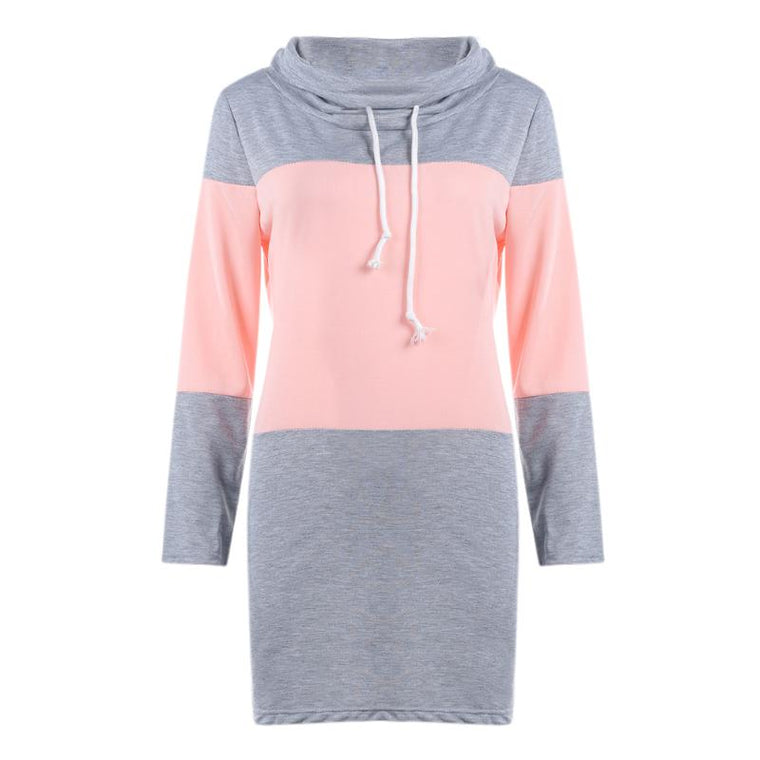 Spring Autumn Casual Women Sweatshirts Splicing Color Fashionable Turtleneck Collar Loose Female Bottoming Long Sweatshirt