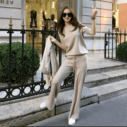 Spring Knitted Cashmere Feminine Blouse Women's Pants Autumn 2 Pieces Set Short Sleeves Shirt Wide Leg Trousers Women Female