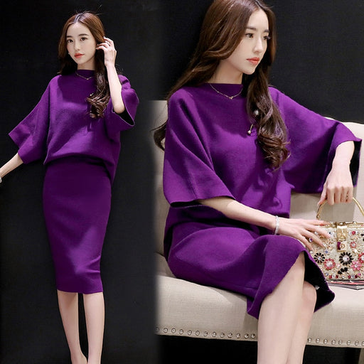 Spring and autumn fashion women's two-piece suit 2018 new temperament knitting bag hip skirt