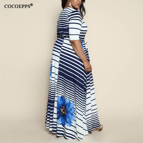 Spring boho Striped Plus Size Maxi Dress Long 5XL 6XL Big Size women clothing 2018 New Sexy Large Size sashes Dress Robe Vestido