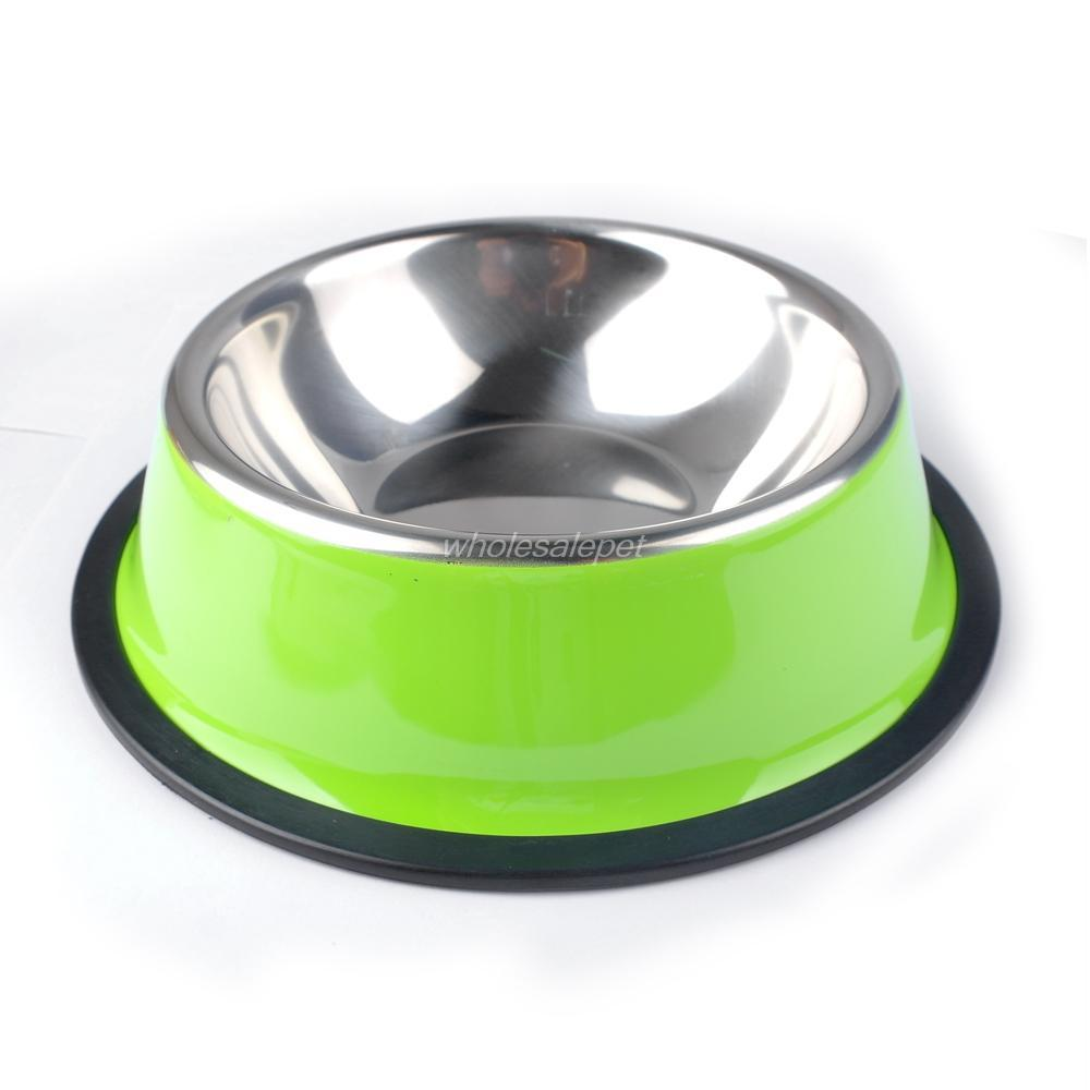 stainless steel dog feeding bowl cat puppy food dish pet puppy drink