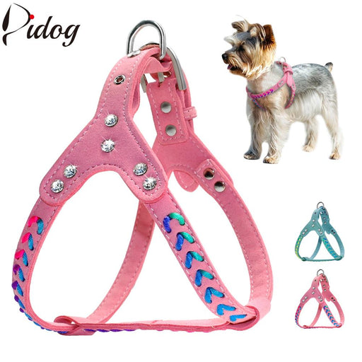 Step- in  Suede Leather Dog Harness Cute Braided Bling Rhinestone Puppy Harnesses Vest For Small Pets Chihuahua Yorkies