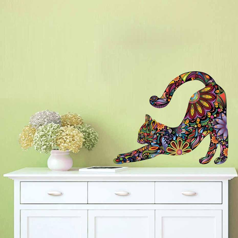 Stretching Cat Vibrant Floral Pattern Silhouette Color Wall Sticker ...