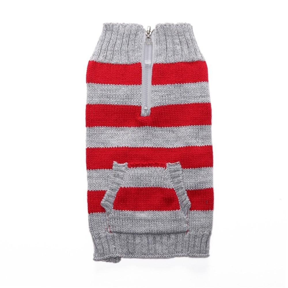 Striped Pet Knitted Jumper Winter Warm Sweater Puppy Cat Costume
