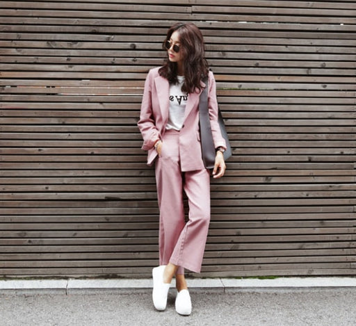 Suit suit solid color female Korean new pink small casual wide leg pants two-piece