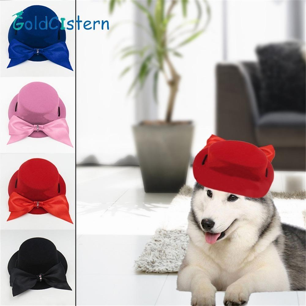 Summer Small Pet Dog Bow Tie Hat Pure Color Outdoor Baseball Cap Birthday PRTY