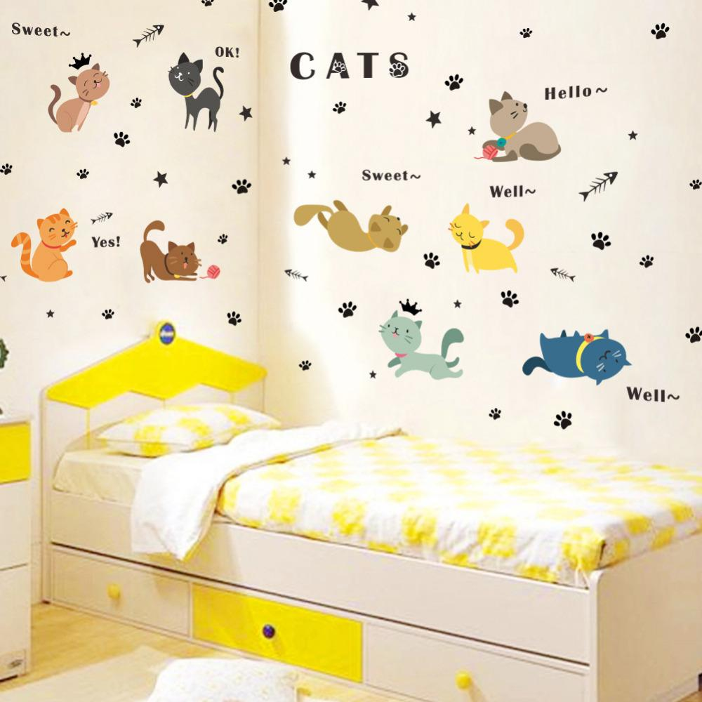 Super Cute!! 9 Cats Pattern Removable Wall Sticker Home Decoration ...