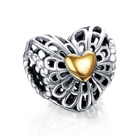 Suplush 100% 925 Sterling Silver Gold Crown & Heart Beads Pendant Fit Orginal Pandora Charm Bracelets Valentine Day Jewelry Gift