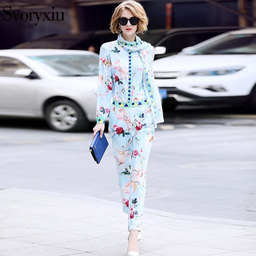 Svoryxiu 2018 Summer Ladies Suits Runway Designer Women's High Quality Sweet Cupid Rose Print Pants Casual Suits + Ribbons