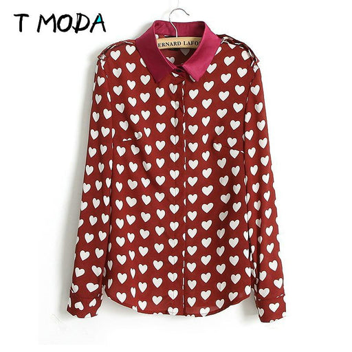 T MODA Blusas 2017 New Fashion Womens Autumn Summer Korean Red Heart Shirts Print Casual Long Sleeve Blouses For Ladies Tops