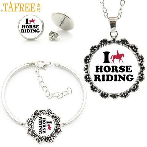 TAFREE glass cabochon equestrian sports love horse riding statement necklace earrings bracelet fashion women jewelry sets SP533
