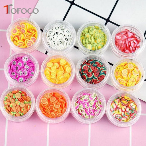 TOFOCO 12 Type/Set Fruit Slices Filler For Nails Art Tips/Balls Slime Fruit For Kids Lizun DIY Accessories Supplies Decoration
