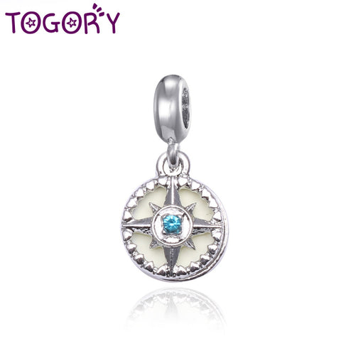 TOGORY 2Pcs/lot Authentic Silver Plated Compass Rose Beads Pendant Fit Orginal Pandora Charm Bracelets Jewelry Gift Accessories